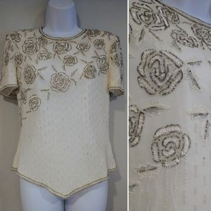 Vtg Papell Boutique Evening silk beaded blouse S
